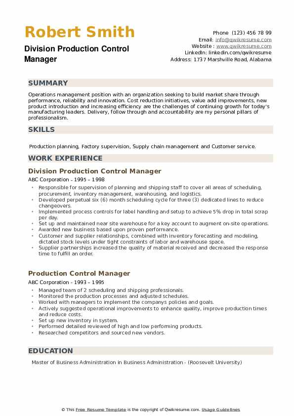 Division Production Control Manager Resume Template