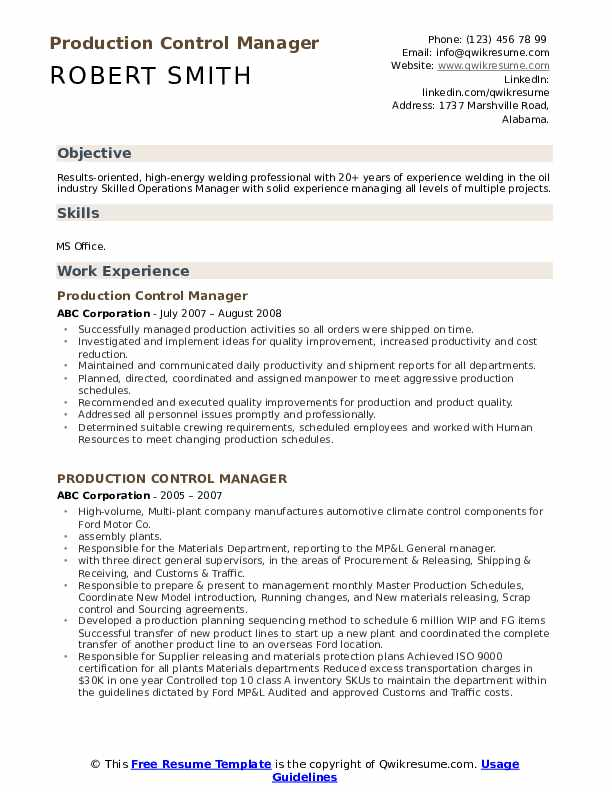 Production Control Manager Resume example