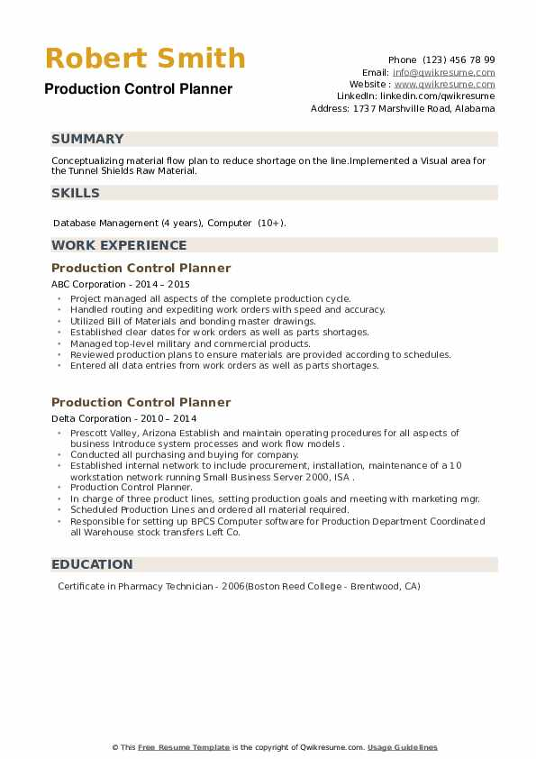 Production Control Planner Resume example