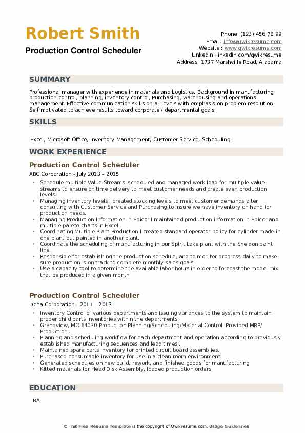 Production Control Scheduler Resume example