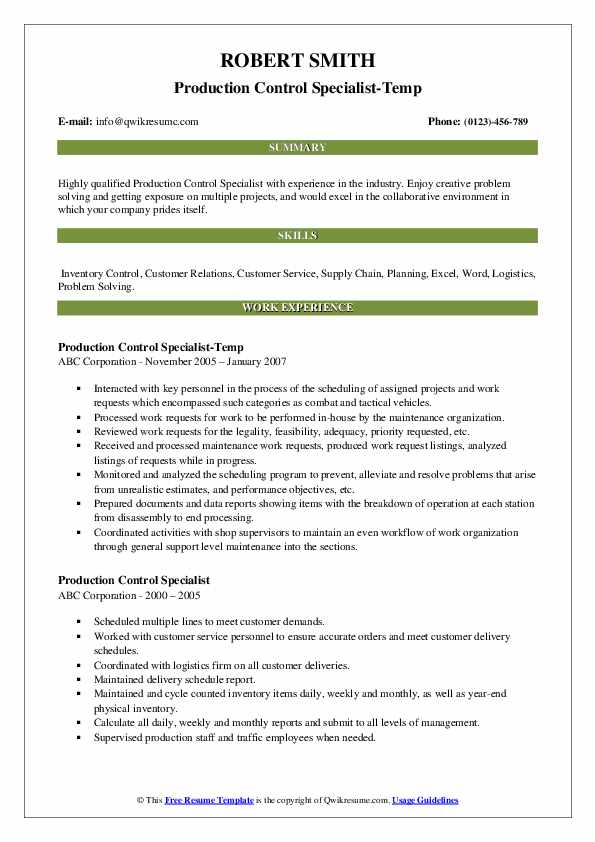 Production Control Specialist-Temp Resume Sample