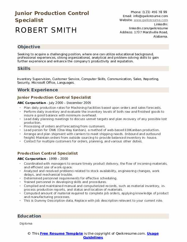 Junior Production Control Specialist Resume Example