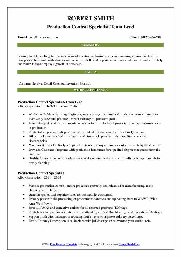 Production Control Specialist-Team Lead Resume Template