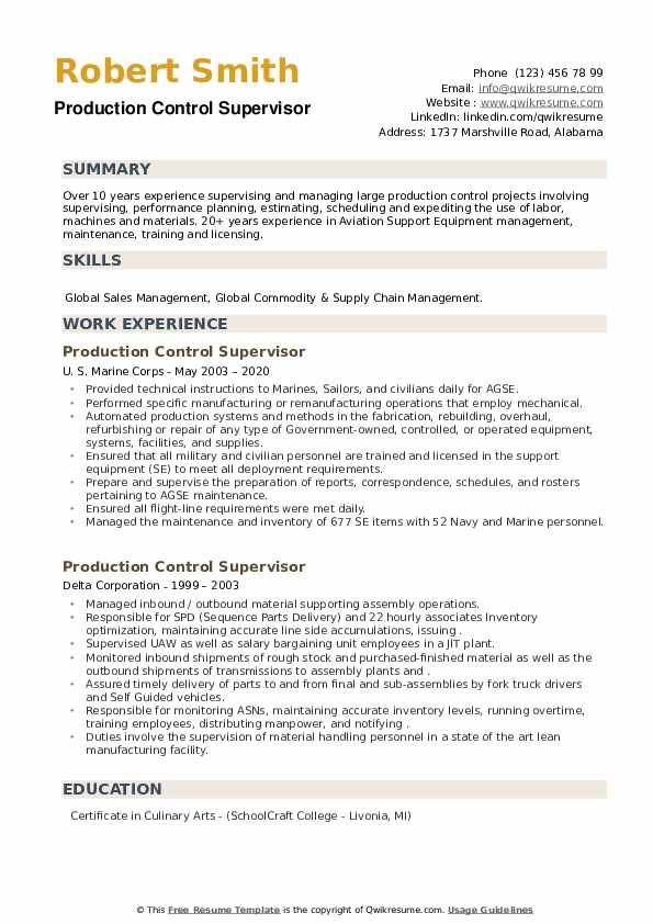 Production Control Supervisor Resume example