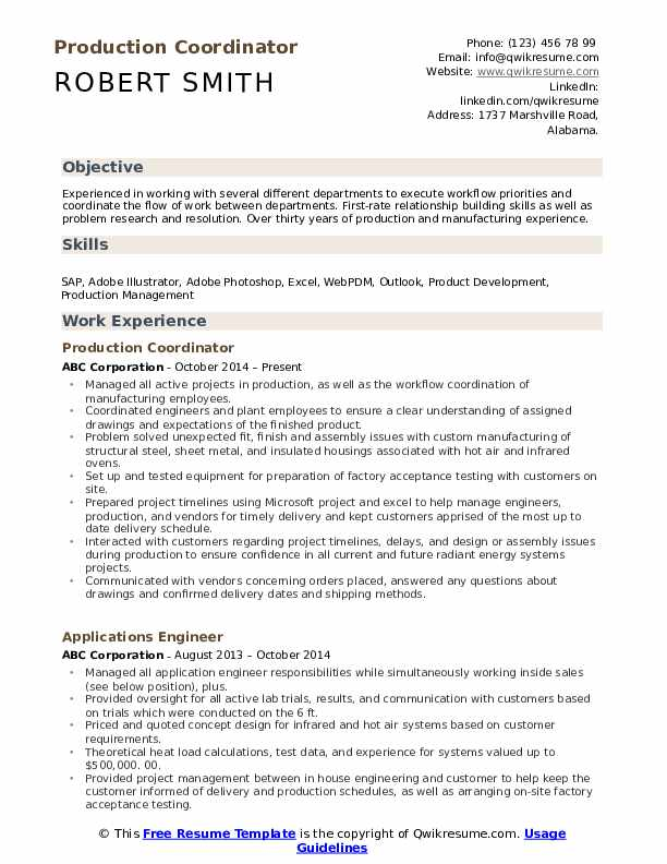 Production Coordinator Resume Template