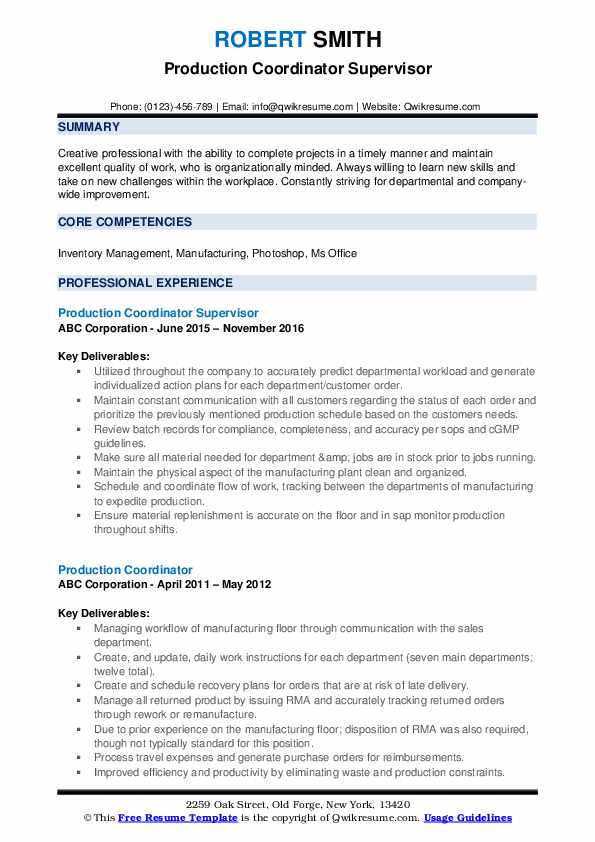 Production Coordinator Supervisor Resume Template