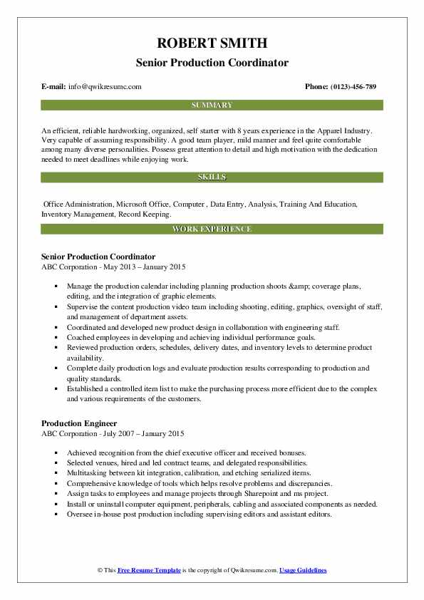 Senior Production Coordinator Resume Sample