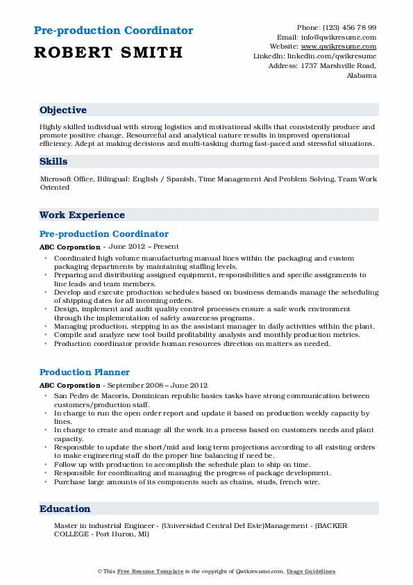 Pre-production Coordinator Resume Model