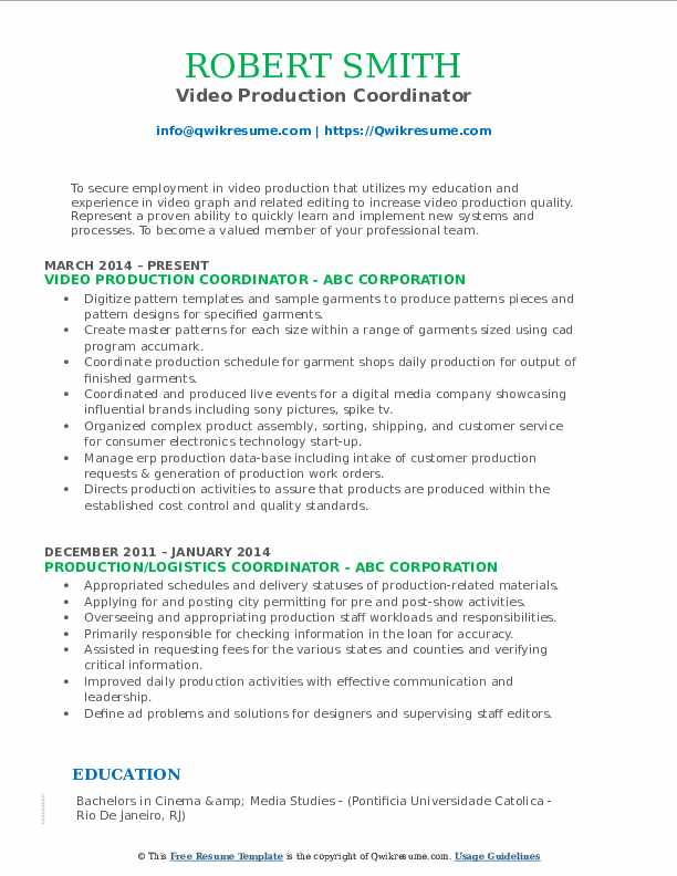 Video Production Coordinator Resume Sample