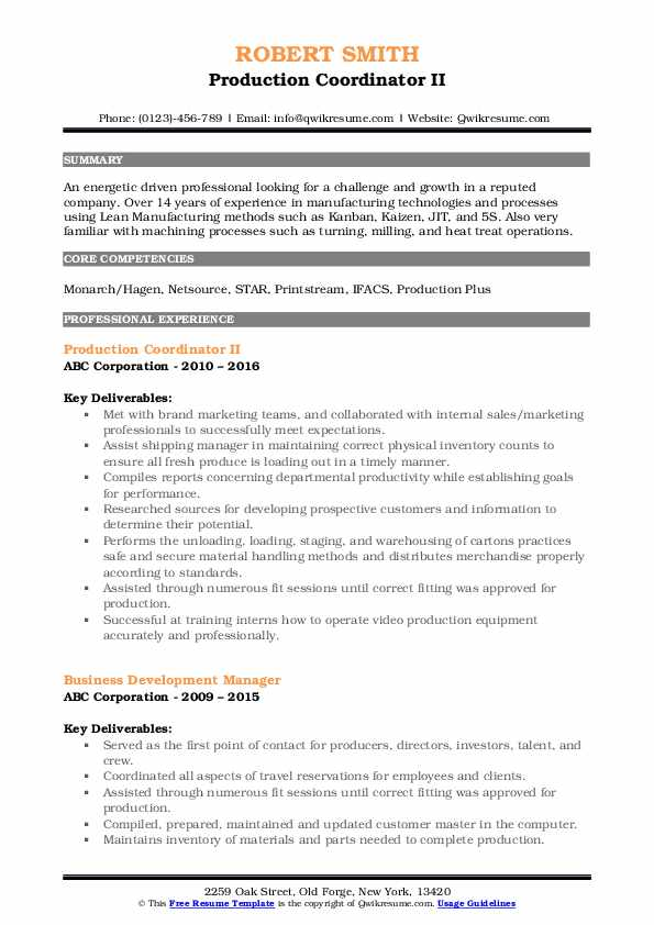 Production Coordinator II Resume Template
