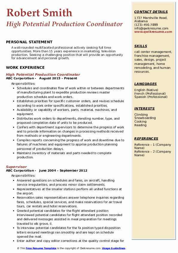 High Potential Production Coordinator Resume Format