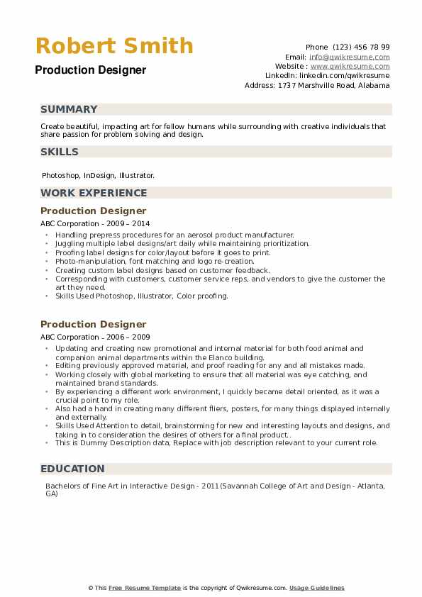 Production Designer Resume example