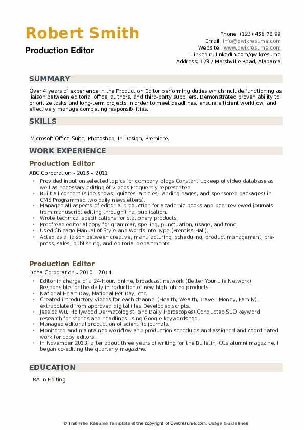 Production Editor Resume example