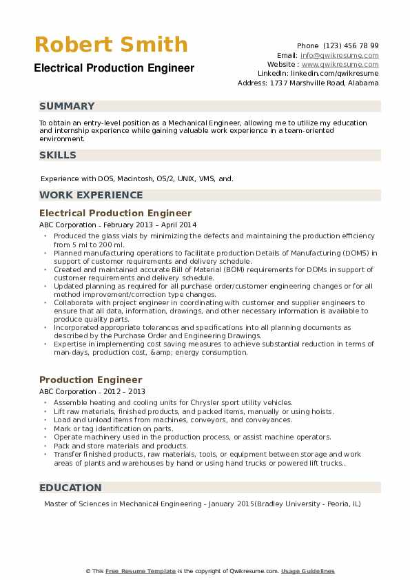 Production Engineer Resume Samples Qwikresume