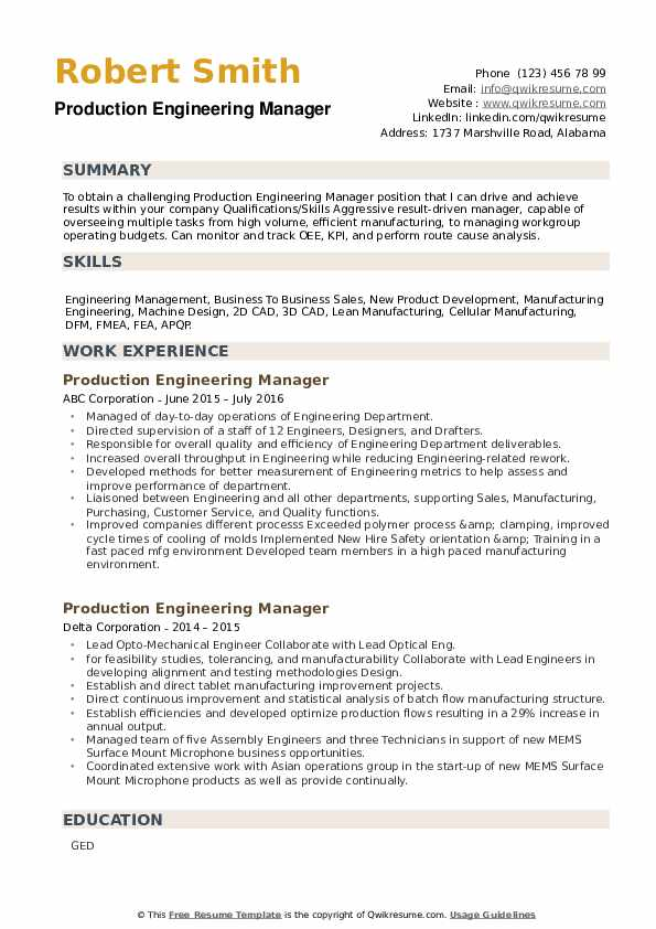 Production Engineering Manager Resume example