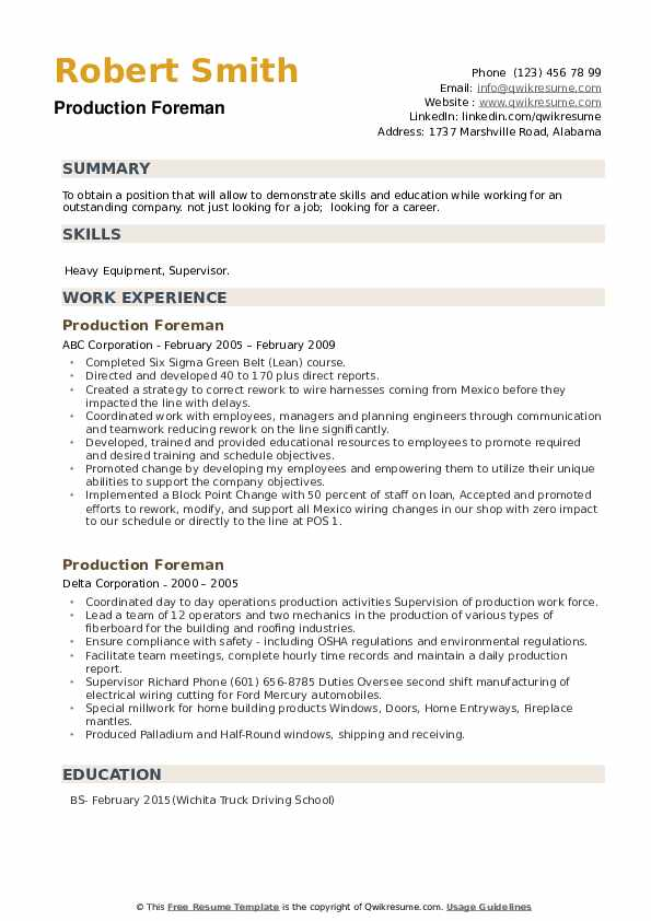 Production Foreman Resume example