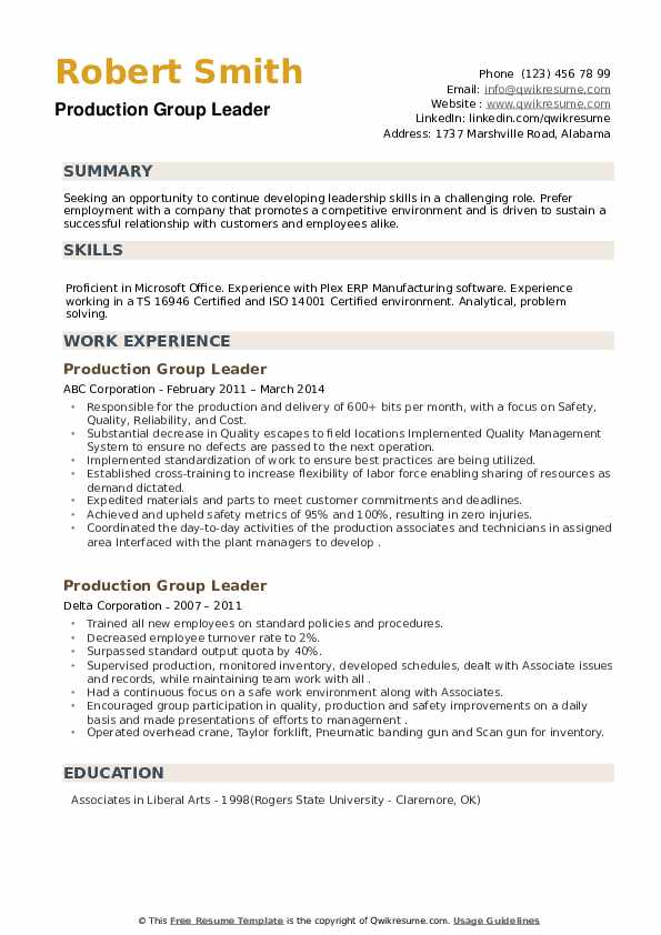 Production Group Leader Resume example