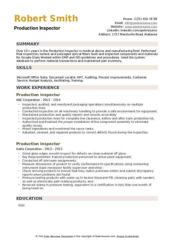 Production Inspector Resume example