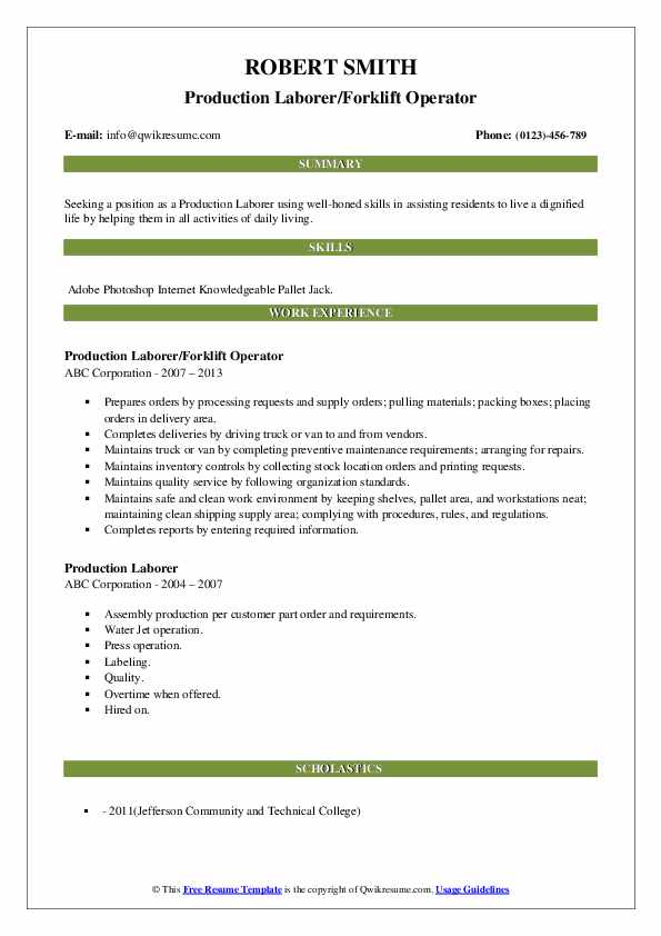 Production Laborer/Forklift Operator Resume Example