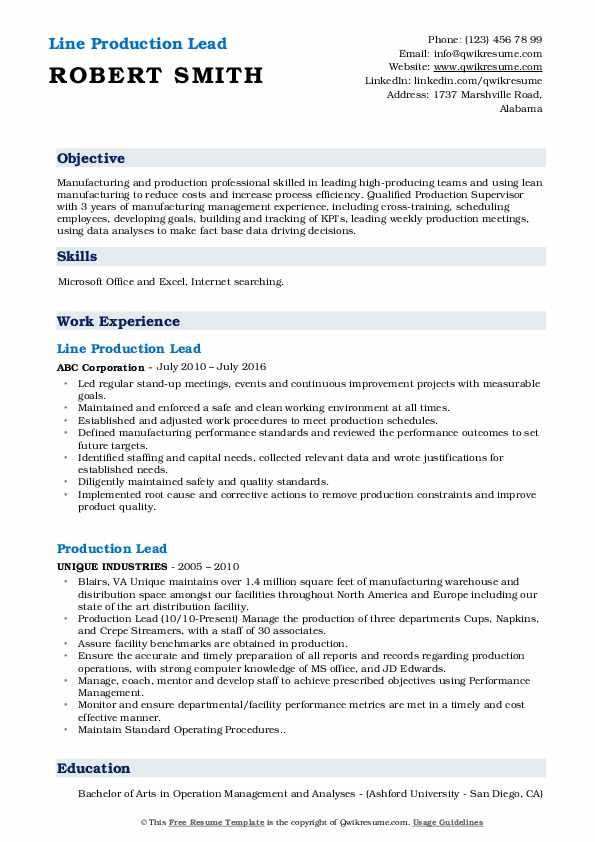 Line Production Lead Resume Format