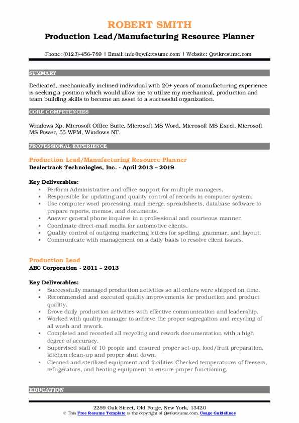 Production Lead/Manufacturing Resource Planner Resume Model
