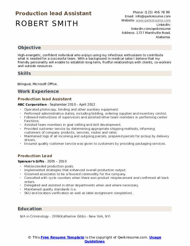 Production lead Assistant Resume Model