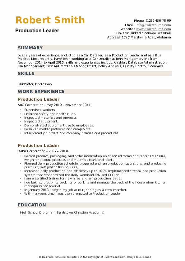 Production Leader Resume example