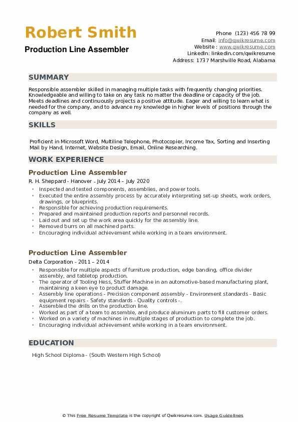 Production Line Assembler Resume example