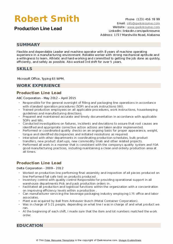 Production Line Lead Resume example