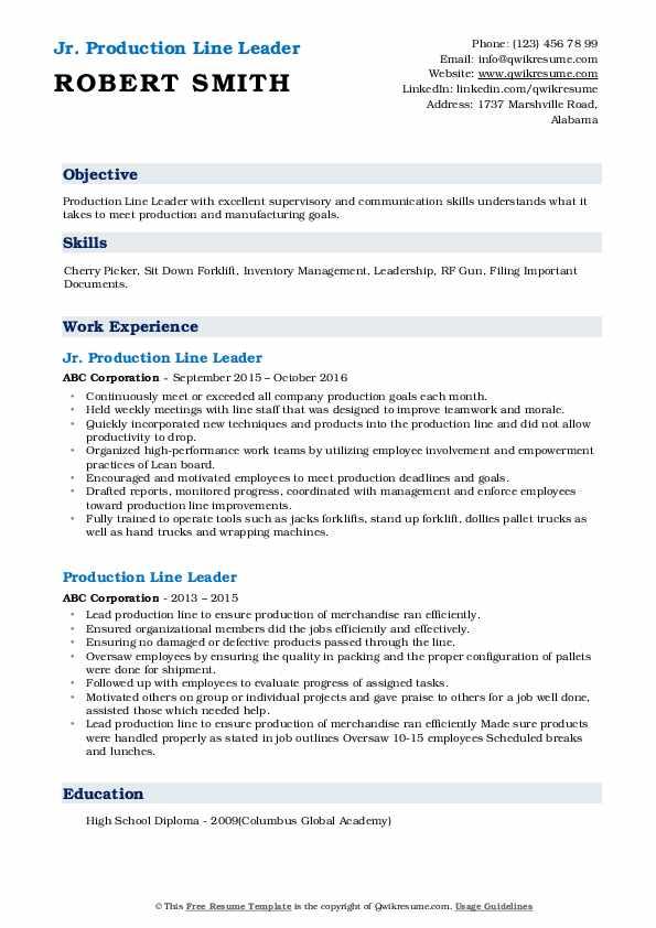 Jr. Production Line Leader Resume Format