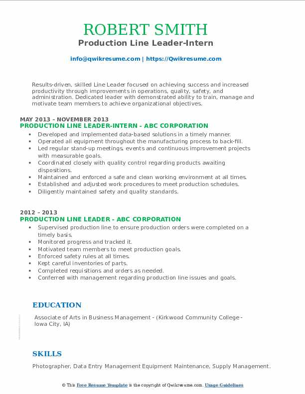 Production Line Leader-Intern Resume Template