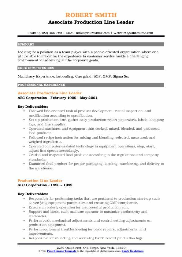 Associate Production Line Leader Resume Example