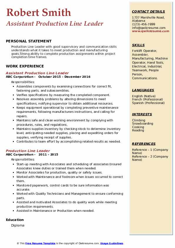 Assistant Production Line Leader Resume Format