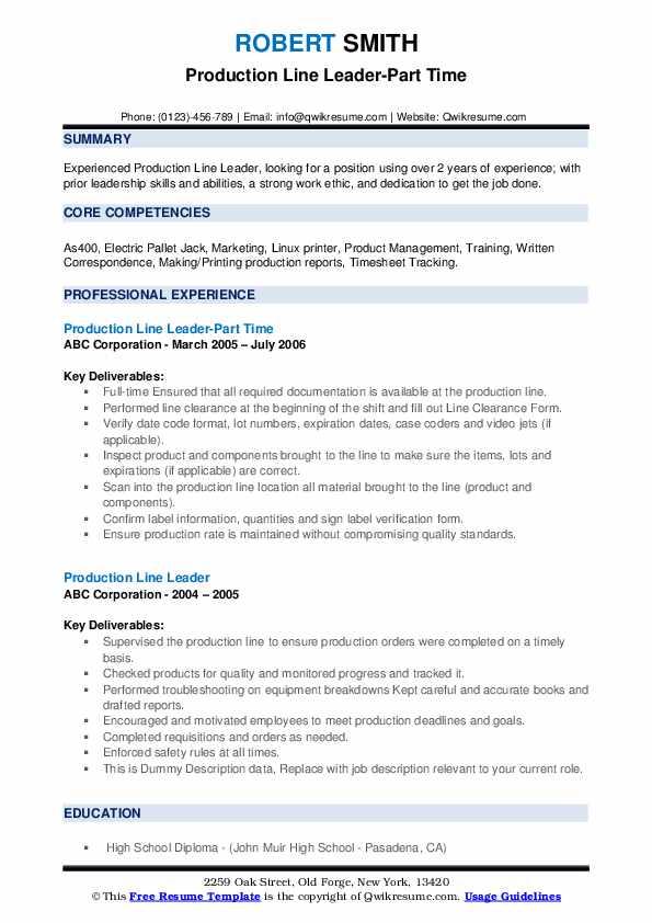 Production Line Leader-Part Time Resume Format