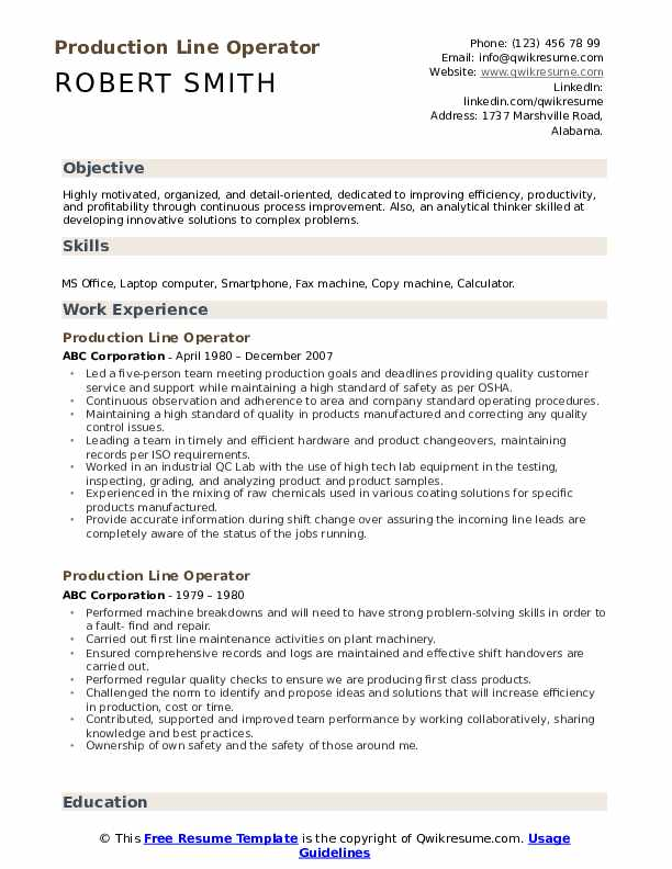 Production Line Operator Resume Format