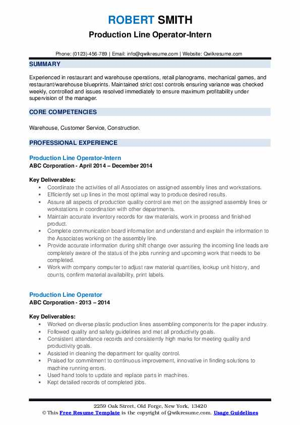 Production Line Operator-Intern Resume Example
