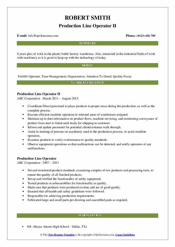 Production Line Operator II Resume Model
