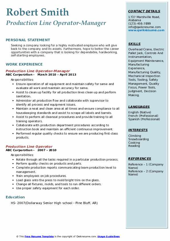Production Line Operator-Manager Resume Model