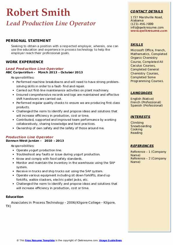 Lead Production Line Operator Resume Format