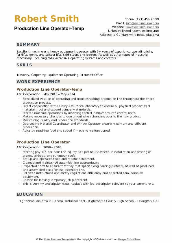 Production Line Operator-Temp Resume Format