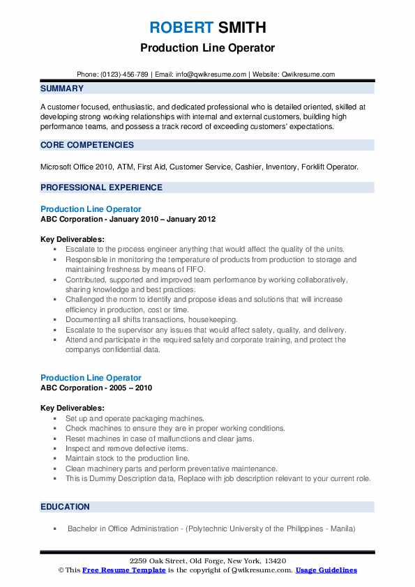 Production Line Operator Resume example