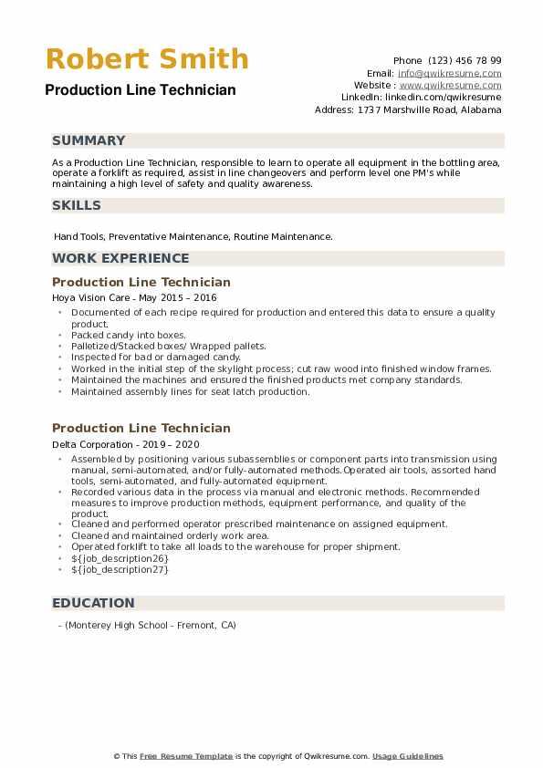 Production Line Technician Resume example