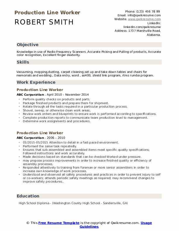 Production Line Worker Resume Format