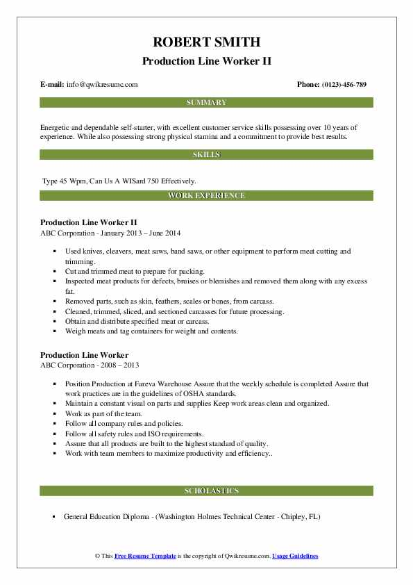 Production Line Worker II Resume Example