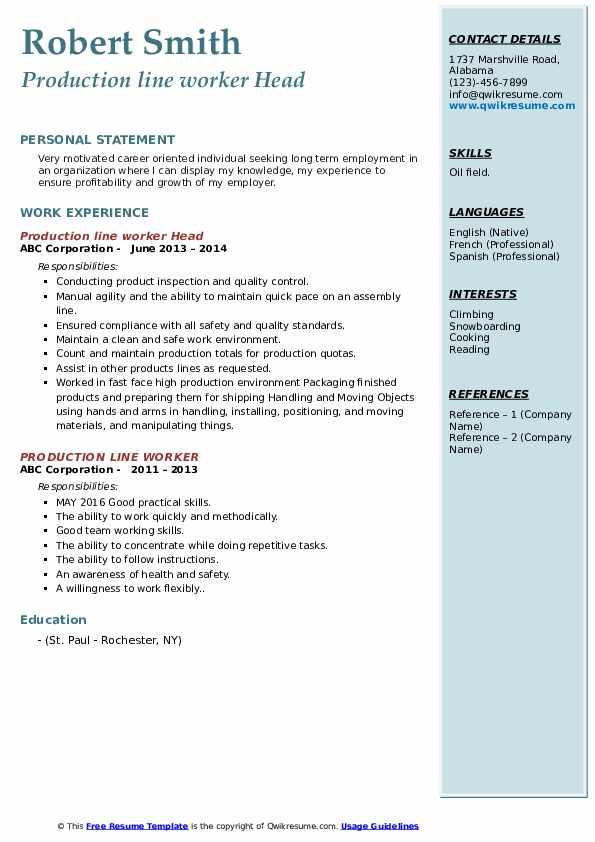 Production line worker Head Resume Sample