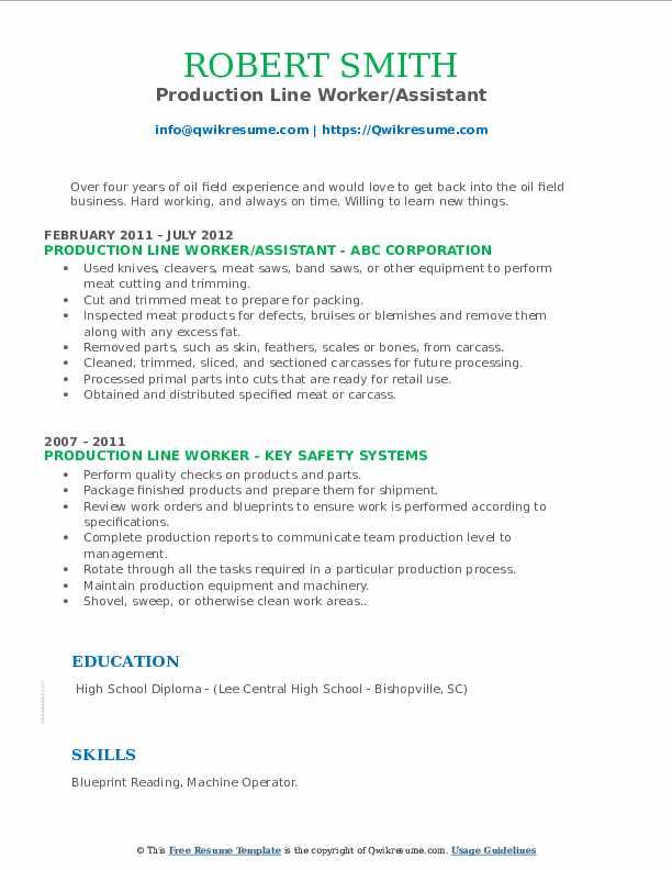 Production Line Worker/Assistant Resume Sample