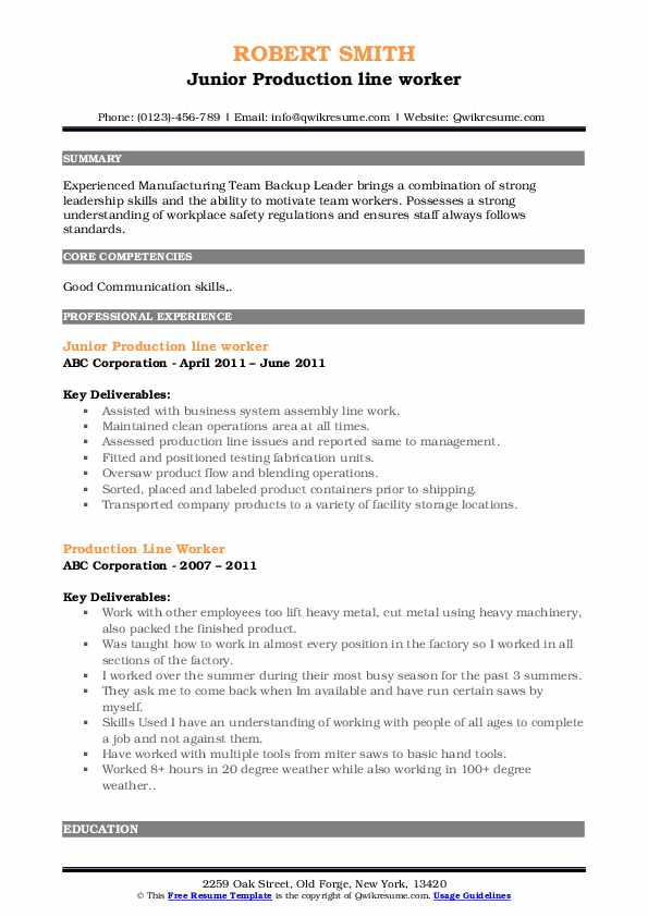 Junior Production line worker Resume Template
