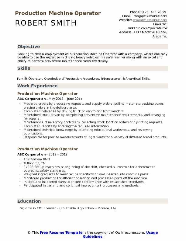 Production Machine Operator Resume Sample