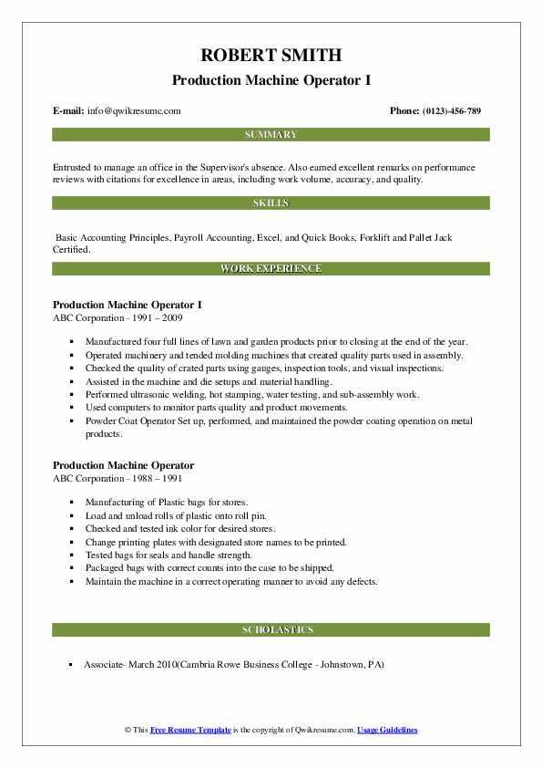 Production Machine Operator I Resume Model