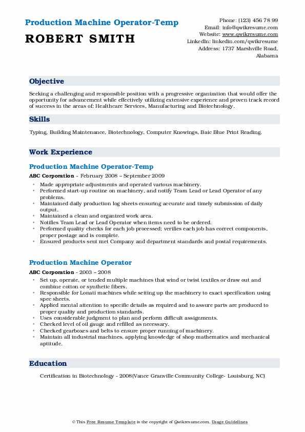 Production Machine Operator-Temp Resume Example